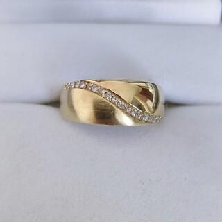 ダイヤモンド ヘアライン リング K18YG 0.14ct 5.1g(リング(指輪))