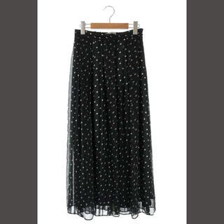セオリーリュクス(Theory luxe)のセオリーリュクス 21SS スカート ロング マキシ フレア 総柄 36 黒(ロングスカート)