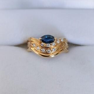 ダイヤモンド×サファイア リング K18YG 3.5g(リング(指輪))