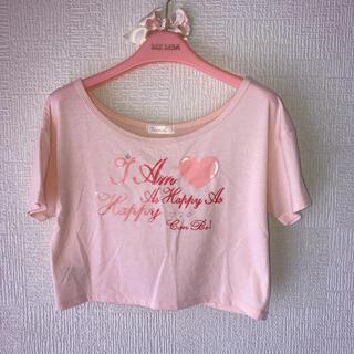フェルゥ(Feroux)のハートプリント へそ出しTシャツ(Tシャツ(半袖/袖なし))