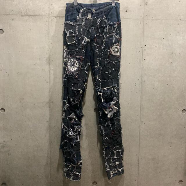 Boy London(ボーイロンドン)のタイガーオブロンドン クラストパンツ ビンテージ パンク ダメージ ツギハギ メンズのパンツ(デニム/ジーンズ)の商品写真