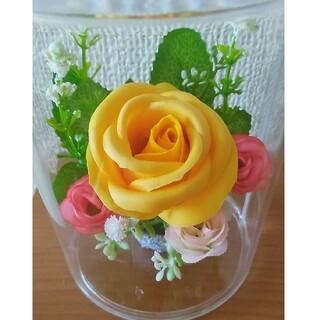 薔薇のフラワーアレンジメント ケース付き ソープフラワー造花ミックス(その他)
