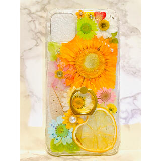 iPhoneケース、iPhoneカバー、押し花、リング付きケース、押しフルーツ(モバイルケース/カバー)