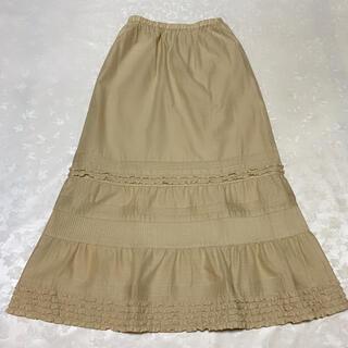 カネコイサオ(KANEKO ISAO)のカネコイサオ 麻混 Aラインスカート ベージュ (ロングスカート)