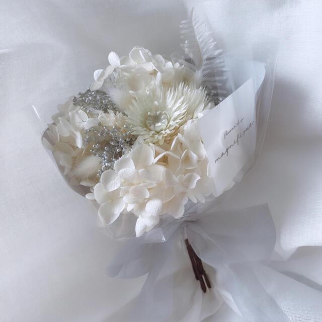 オールホワイト ドライフラワー 花束 ブーケ スワッグ ギフト プリザ ハンドメイドのフラワー/ガーデン(ドライフラワー)の商品写真