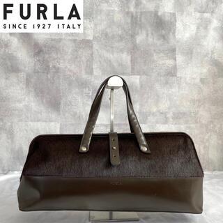 フルラ(Furla)の【FURLA】フルラ イタリア製 本革×ハラコ ダークブラウン ドクターズバッグ(トートバッグ)