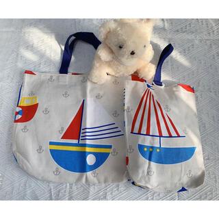 ホワイト船柄 レッスンバッグ、シューズ袋2点セット ハンドメイド(バッグ/レッスンバッグ)