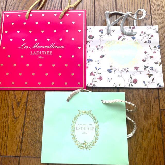 Les Merveilleuses LADUREE(レメルヴェイユーズラデュレ)のラデュレ ショップ袋 3点セット 未使用 レディースのバッグ(ショップ袋)の商品写真