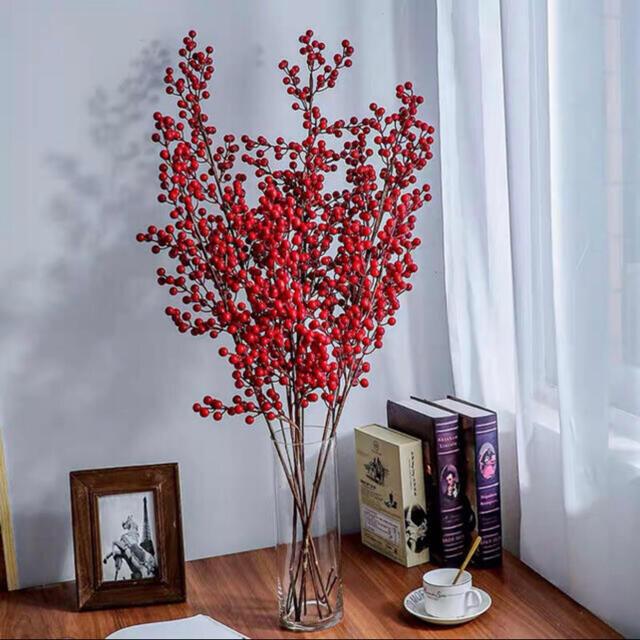 レッドベーリピンク フェイク 造花3本 インテリア デコレーション ハンドメイドのフラワー/ガーデン(ドライフラワー)の商品写真