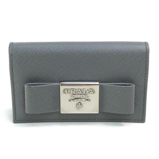 PRADA - プラダ 1MC122 ロゴ リボン 名刺入れ カードケース グレー サフィアーノ