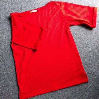 チャオパニック(Ciaopanic)のボートネックカットソー 赤 半袖(カットソー(半袖/袖なし))