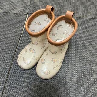 長靴 ベージュ 虹柄 ロゴ 13cm 数回のみ使用 美品
