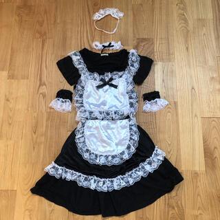メイドコスプレ6点セット エプロン+カットソー+スカート+小物3点(衣装一式)