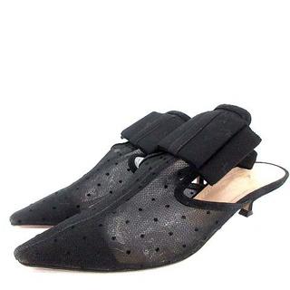クリスチャンディオール(Christian Dior)のDior ディオール サンダル ミュール ドット メッシュ リボン 黒 23(サンダル)