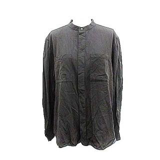 ドゥロワー(Drawer)のドゥロワー コットンシャツ バンドカラー 絹混 長袖 M チャコールグレー(カットソー(長袖/七分))