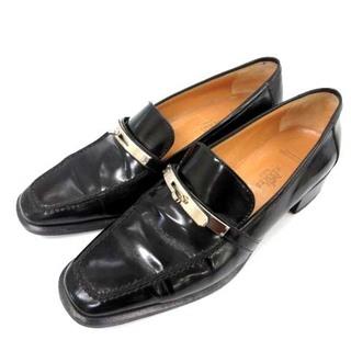 エルメス(Hermes)のエルメス ケリーローファー スリッポン レザーシューズ 38 24.5cm 黒(ローファー/革靴)