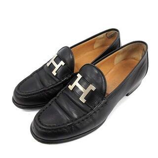 エルメス(Hermes)のエルメス コンスタンス ローファー モカシン ローヒール レザー 36.5 黒(ローファー/革靴)