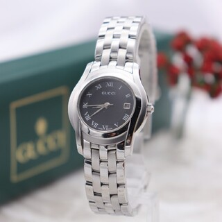 グッチ(Gucci)の正規品【新品電池】GUCCI 5500L/人気モデル ブラック 動作良好(腕時計)