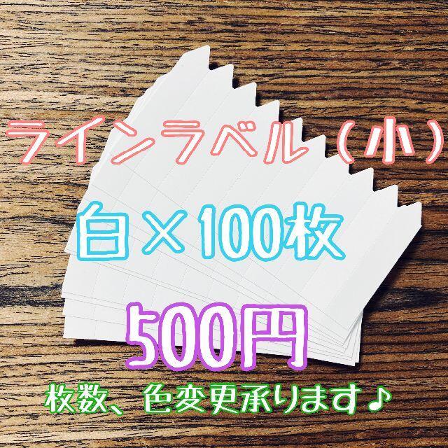◎ 100枚 ◎ 白 ( 小 ) ラインラベル 園芸ラベル カラーラベル ハンドメイドのフラワー/ガーデン(プランター)の商品写真