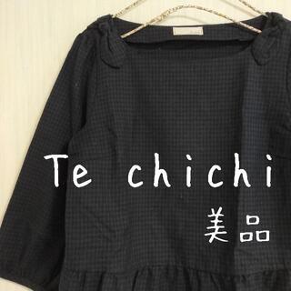 テチチ(Techichi)の美品 Te chichi テチチ 肩リボン チェック柄 へプラムトップス(カットソー(長袖/七分))