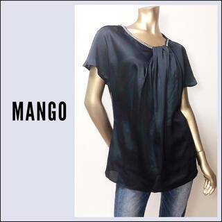 マンゴ(MANGO)のMANGO ビジュー付き タック ブラウス*ZARA INDIVI イエナ(シャツ/ブラウス(半袖/袖なし))