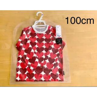マリメッコ(marimekko)の日本未発売★marimekko×UNIQLO ハート柄 トップス 100cm 赤(Tシャツ/カットソー)