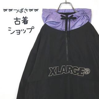 エクストララージ(XLARGE)の【大人気】X-LARGE アノラック 刺繍 ハーフジップ パーカー XL 古着(ナイロンジャケット)