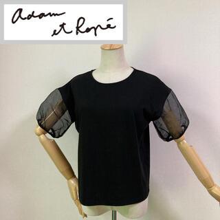 アダムエロぺ(Adam et Rope')のアダムエロペ 袖シースルーカットソー ブラック(カットソー(半袖/袖なし))