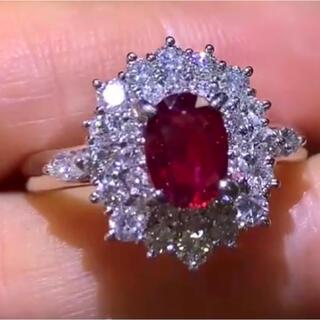 ☆送料込☆上品豪華1.12ctダイヤモンド0.96ctルビーpt850リング(リング(指輪))