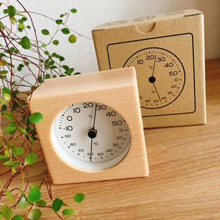 ムジルシリョウヒン(MUJI (無印良品))の無印良品  ブナ材温湿度計  新品未使用  部屋のコンディション管理に!(置時計)