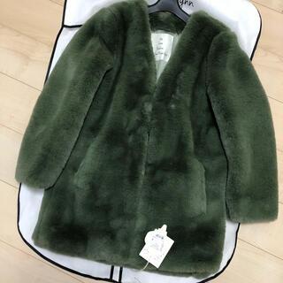シールームリン(SeaRoomlynn)のノーカラーミディアムファーコート(毛皮/ファーコート)