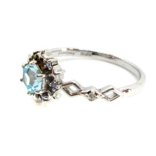 Samantha Silva(サマンサシルヴァ)のサマンサ シルヴァ ロジウム 指輪 カラーストーン 13号 シルバー 青 レディースのアクセサリー(リング(指輪))の商品写真
