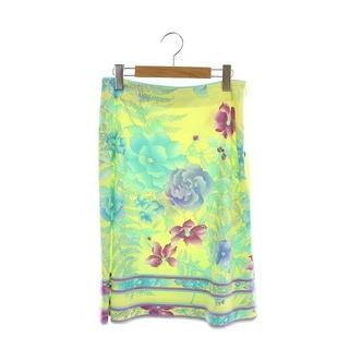 レオナール(LEONARD)のレオナール ファッション フラワープリントスカート 台形 ひざ丈 黄色 イエロー(ひざ丈スカート)