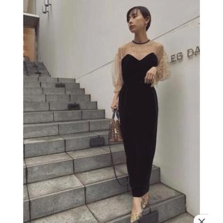 アメリヴィンテージ(Ameri VINTAGE)のAMERI TULLE SLEEVE TIGHT DRESS ドレス ワンピース(ロングドレス)