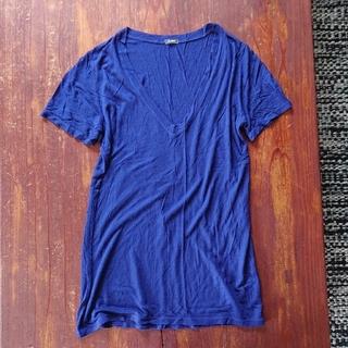 ロンハーマン(Ron Herman)のMONROW モンロー Tシャツ カットソー ブルー Vネック(Tシャツ(半袖/袖なし))