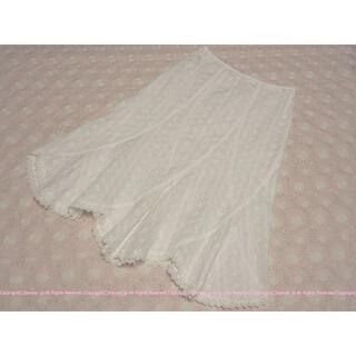 エムケーミッシェルクラン(MK MICHEL KLEIN)のMICHEL KLEIN ミッシェルクラン 総刺繍ギザギザ裾スカート/38(ひざ丈スカート)