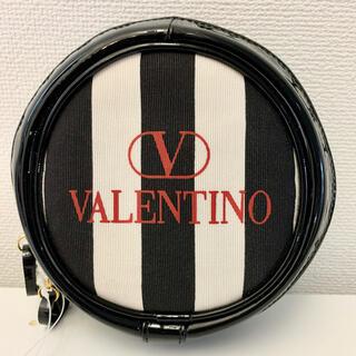 ヴァレンティノ(VALENTINO)のVALENTINO ヴァレンチノ ストライプレザー丸型化粧ポーチ 小物入れ(ポーチ)
