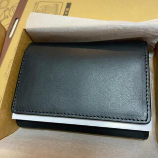 MUJI (無印良品) - 現物の写真です! 無印良品 イタリア産ヌメ革 三つ折り財布 黒色 メンズ