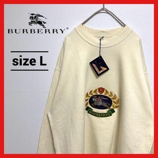 バーバリー(BURBERRY)の【未使用品】90s 古着 バーバリー スウェットトレーナー 刺繍 タグ付き L(スウェット)