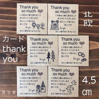 4.5センチスクエア サンキュー【カード】 ロゴ 北欧(フルーツ)