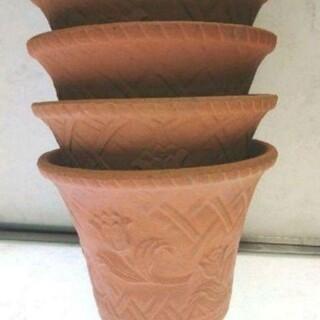 大特価! 三河焼陶器鉢チューリップ柄浮彫り7号鉢4枚セット(プランター)