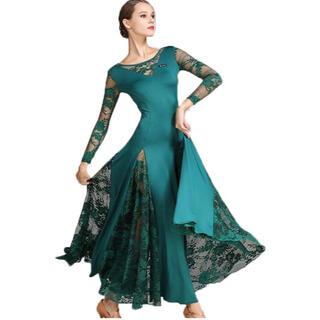 エレガント ちょっぴりセクシー 素敵なグリーン スリットレース入りドレス Ⓜ️(衣装一式)