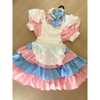 メイド服 コスプレ 衣装 ピンク ブルー(衣装一式)
