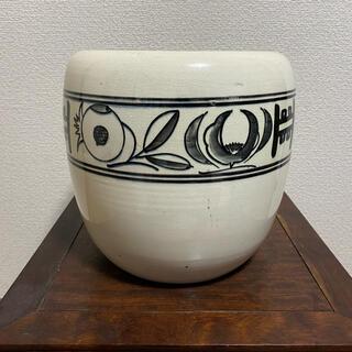 鉢カバー 丸鉢 白 クリーム 模様 鉢 植木鉢(その他)
