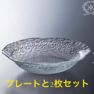 ムジルシリョウヒン(MUJI (無印良品))の2枚セット オフィーリアガラスボウル フィッシュデコガラスプレート ハルモニア(食器)