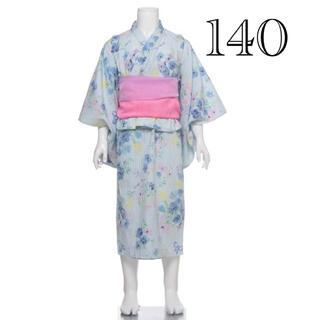 メゾピアノ(mezzo piano)のメゾピアノ 花柄ストライプ 浴衣 140(甚平/浴衣)