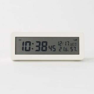 ムジルシリョウヒン(MUJI (無印良品))の《新品》  無印良品 デジタル電波時計(大音量アラーム機能つき)/ホワイト(置時計)