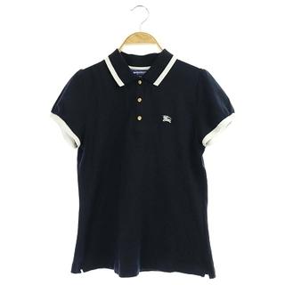 バーバリーブルーレーベル(BURBERRY BLUE LABEL)のバーバリーブルーレーベル ポロシャツ ロゴ刺繍 半袖 38 ネイビー ホワイト(ポロシャツ)