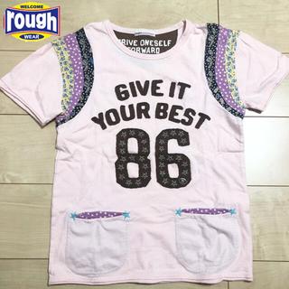 ラフ(rough)のrough アップリケ Tシャツ ピンク(Tシャツ(半袖/袖なし))