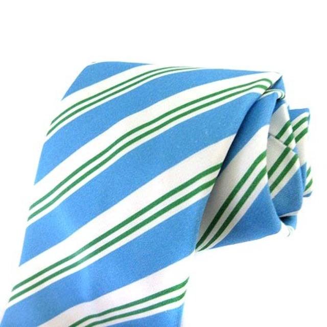 LUIGI BORRELLI(ルイジボレッリ)のルイジボレッリ ネクタイ レジメンタルストライプ 水色 ライトブルー 黄緑 メンズのファッション小物(ネクタイ)の商品写真